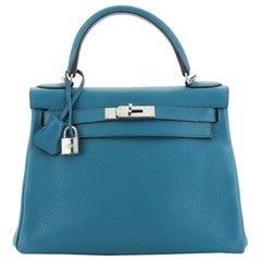 Hermes Kelly Handbag Bleu Izmir Clemence with Palladium Hardware 28