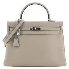 Hermes Kelly Handbag Gris Tourterelle Clemence with Palladium Hardware 35