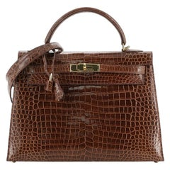 Hermes Kelly Handbag Miel Shiny Porosus Crocodile with Gold Hardware 32