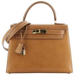 Hermes Kelly Handbag Natural Peau Porc with Gold Hardware 28