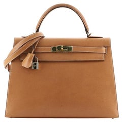 Hermes Kelly Handbag Natural Vache Liegee with Gold Hardware 32