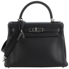 Hermes Kelly Handbag Noir Clemence with Palladium Hardware 28