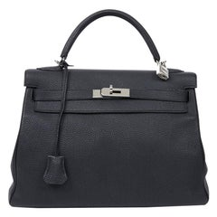 HERMES Kelly In Black Togo Leather With Removable Strap