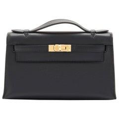 Hermes Kelly Pochette Black Gold Hardware Clutch Cut Bag Swift D Stamp, 2019