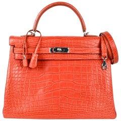 Hermes Kelly Retourne Bag 35 Supple Matte Alligator Sanguine Palladium