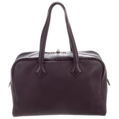 Hermes Leather Palladium Men's Women's Carryall Travel Top Handle Tote Bag