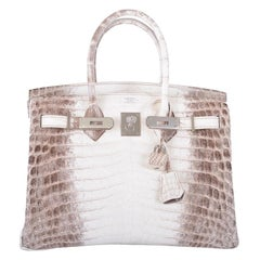 Hermes NEW Birkin 25 Himalayan Croc Exotic Top Handle Satchel Tote Bag in Box
