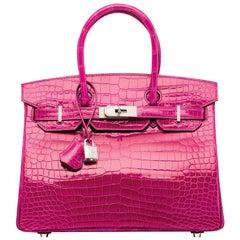 Hermes NEW Birkin 25 Rose Crocodile Diamond White Gold Top Handle Satchel Bag