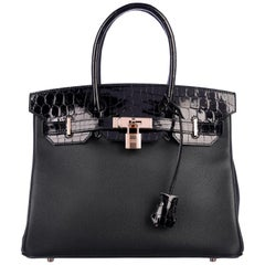 Hermes NEW Birkin 30 Black Crocodile Rose Gold Top Handle Satchel Tote Bag W/Box
