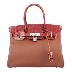 Hermes NEW Birkin 30 Cognac Crocodile Gold Top Handle Satchel Tote Bag W/Box
