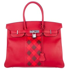 Hermes NEW Birkin 30 Red Checker Leather Top Handle Satchel Tote Bag in Box