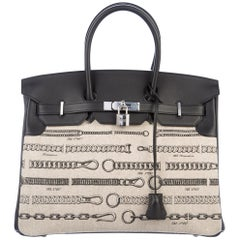 Hermes NEW Birkin 35 Tan Toile Black Leather Top Handle Satchel Travel Tote Bag