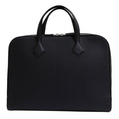 Hermes NEW Black Leather Men's Women's Travel Laptop Business Briefcase Bag