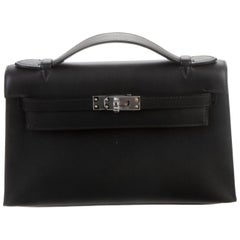 Hermes NEW Black Leather Palladium Top Handle Satchel Small Tote Bag in Box