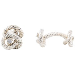 Hermes NEW Genuine Sterling Silver Knot Men's Suit Shirt Cufflinks in Box