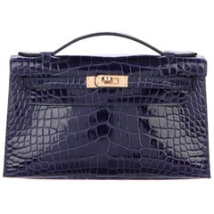 Hermes NEW Kelly Blue Alligator Exotic Gold Clutch Top Handle Satchel Bag in Box