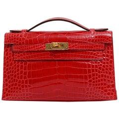 Hermes NEW Kelly Red Alligator Exotic Skin Gold Clutch Top Handle Satchel Bag
