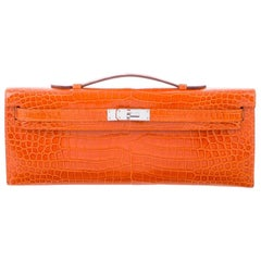 Hermes NEW Orange Crocodile Exotic Kelly Evening Top Handle Clutch Bag in Box