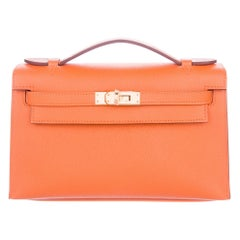 Hermes NEW Orange Leather Gold Top Handle Satchel Small Tote Bag in Box
