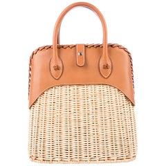 Hermes NEW Tan Wicker Cognac Leather Top Handle Satchel Bag with Dust Bag & Box