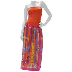 Hermès Orange Cavalcadour Cotton Summer Sleeveless Bustier Beach Dress