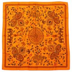 Hermes Orange & Multicolor 'Carré Kantha' Silk Scarf