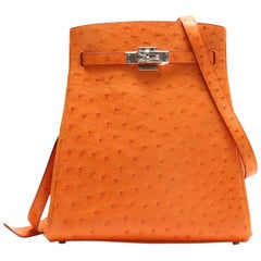 Hermes Orange Ostrich Exotic Leather Palladium Kelly Shoulder Bag