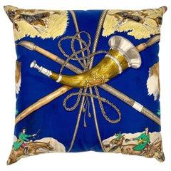 Hermès Paris Blue Silk Scarf Fox Hunt Pillow