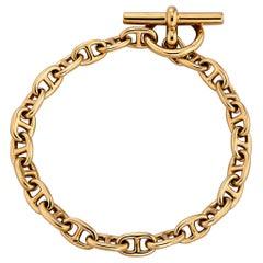 Hermes Paris Vintage Petite Gold Anchor Link Toggle Bracelet