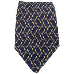 HERMES Print Navy & Brown Abstract Print Silk Tie 7147 FA