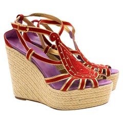 Hermes Red Embroidered Espadrille Wedges 39