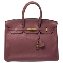 Hermes Rouge Imperial Clemence Leather Gold Hardware Birkin 35 Bag