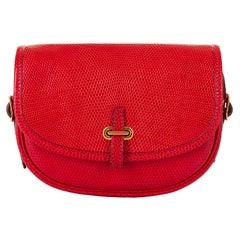 Hermes 'Rouge Vif' Shiny LizardMini Evening Bag with Gold hardware - Very Rare