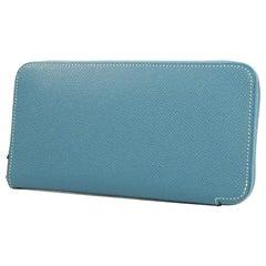 HERMES round zipper Azap long classic unisex long wallet blue jean