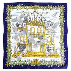 Hermes Scarf Silk Vintage Envol Signed by J. Metz