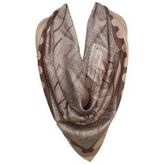 Hermès Silk Scarf De Passage A Paris Nathalie Vialars Beige Brown 35 inches
