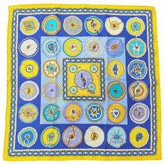 Hermès Silk Scarf Gavroche Pocket Square Belles du Mexique Jamin Yellow Blue 16'