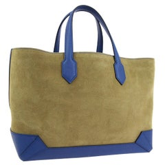 Hermes Tan Suede Blue Leather Carryall Top Handle Satchel Travel Tote Bag