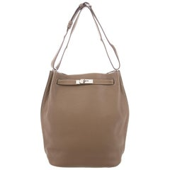 Hermes Taupe Leather Large Carryall Bucket Travel Tote Shoulder Bag in Box