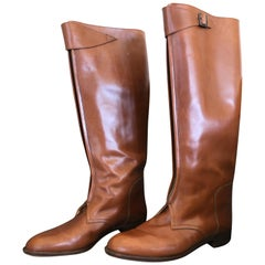 Hermes Vintage Brown Leather Zip Front Riding Boots Size 39