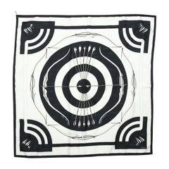 Hermes White & Black 'Arcs en Ciel' Silk Scarf