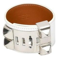 Hermès White Leather Collier De Chien Silver Tone Bracelet Small