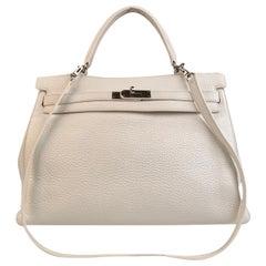 Hermes White Leather Kelly 35 Retourne Top Handle Bag Satchel