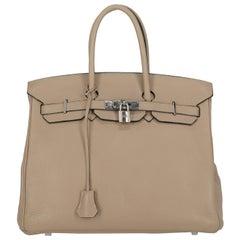 Hermes Women's Handbag Birkin 35 Grey Leather