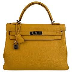 Hermes Yellow Leather Kelly 32 Retourne Top Handle Bag Satchel