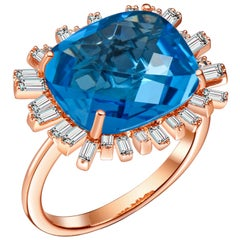 Hestia Modern Cushion Cut Blue Topaz Diamond 18 Karat Gold Romance Cocktail Ring