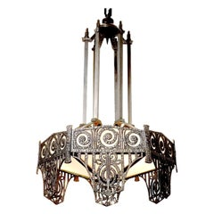 Highly Detailed French Art Deco Chandelier