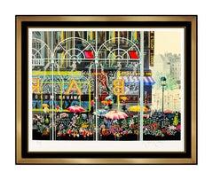 Hiro Yamagata Club Bahama Color Screenprint Hand Signed Cityscape Framed Artwork
