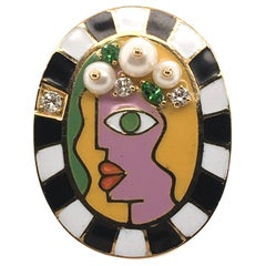 Holly Dyment Gold, Enamel Gem Set and Diamond Face Ring