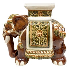 Hollywood Regency Chinese brown Colored Elephant Garden Plant Stand or Seat